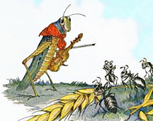 Aesop's the Ant and the Grasshopper retold for American Socialist sensibilities