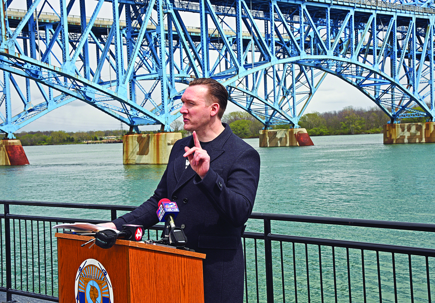 "Grand Island Supervisor Nathan McMurray represents a sea change in the political will of the leadership of Grand Island. Unlike his predecessors, he wants the tolls removed. ""Mr. Cuomo, tear down these tolls!"" McMurray said at a rally attended by activist Rus Thompson."