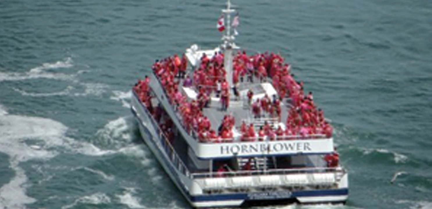 It's not hard to figure out why NBC chose to film their report on the spacious Hornblower boat, rather than the cramped Maid of the Mist, on which most have to stand on their tiptoes to get a decent view.