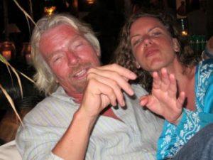 Sara with her host on Necker Island – Sir Richard Branson.