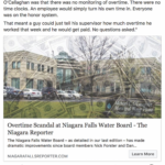 People's Voice Edition: Overtime Scandal at Niagara Falls Water Board