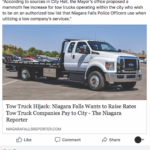 People's Voice Edition: Tow Truck Hijack, Niagara Falls Wants to Raise Rates Tow Truck Companies Pay to City