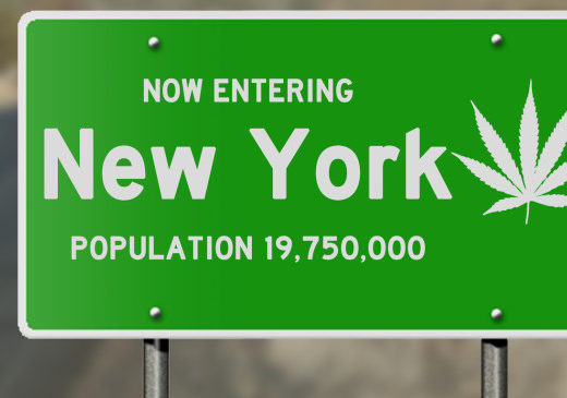 "Illustration showing ""now entering New York"" highway sign with marijuana leaf, relevant to political issues relating to marijuana use and legalization"