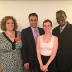 Alicia Kenyon in 2014 standing with former City Councilwoman Grandinetti, Former Councilman Walker, and current City Council Chairman Touma.