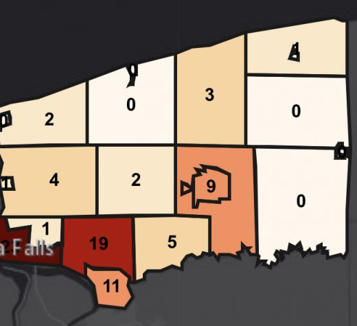 The updated COVID-19 numbers throughout Niagara County as of April 2nd, 2020. Niagara Falls leads the County with 23 positive cases.